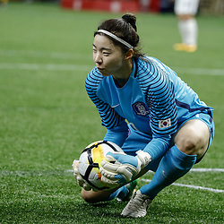 Oct 19, 2017; New Orleans, LA, USA; Korea Republic goal keeper Kang Gaae (1) makes a save against USA during the first half of an International Friendly Women's Soccer match at the Mercedes-Benz Superdome. Mandatory Credit: Derick E. Hingle-USA TODAY Sports