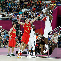 12 August 2012: LeBron James takes a three points jumpshot over Rudy Fernandez during 107-100 Team USA victory over Team Spain, during the men's Gold Medal Game, at the North Greenwich Arena, in London, Great Britain.