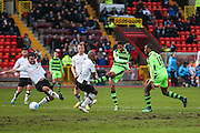 Forest Green Rovers Ethan Pinnock(16) shoots at goal misses the target during the Vanarama National League match between Gateshead and Forest Green Rovers at Gateshead International Stadium, Gateshead, United Kingdom on 18 February 2017. Photo by Shane Healey.