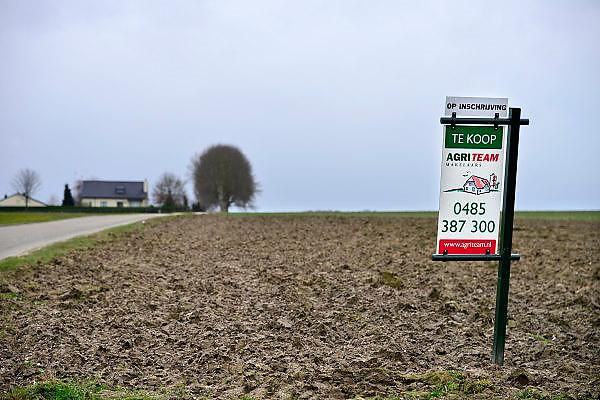 Nederland, Grtoesbeek, 14-2-2014Boerderij en landbouwgrond te koop. Geeft aan hoe slecht het gaat met het boerenbedrijf. Veel boeren gaat het economisch slecht en veel agrariers besluiten tot verkoop van hun bedrijf.Foto: Flip Franssen/Hollandse Hoogte