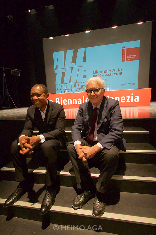 56th Art Biennale in Venice - All The World's Futures.<br /> Arsenale.<br /> Biennale 56 Director Okwui Enwezor (l.), Biennale President Paolo Baratta.