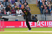 Roelof van der Merwe of Somerset bowling during the Vitality T20 Finals Day Semi Final 2018 match between Worcestershire Rapids and Lancashire Lightning at Edgbaston, Birmingham, United Kingdom on 15 September 2018.
