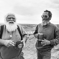 Don Buford and Terry Clark share a laugh at their Dirt Devil mining camp outside of Plush, Oregon.