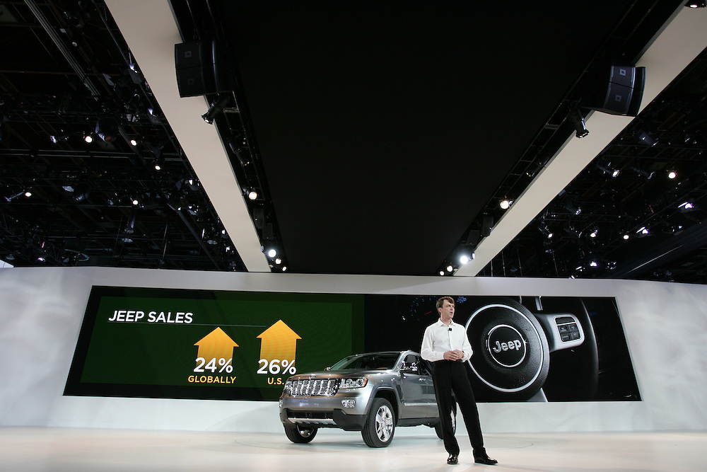 GR --- Detroit, Michigan ---11-01-10--- Mike Manley, President and CEO Jeep Brand introduces the 2012 Jeep Compass at the company's press conference at  the North American International Auto Show in Detroit, Michigan January 10, 2011.<br /> Geoff Robins AFP