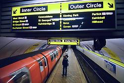 Station and train on the Glasgow underground subway system in Scotland United Kingdom 2006