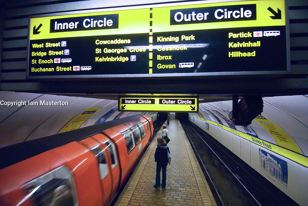 Station and train on the Glasgow underground subway system in Scotland United Kingdom 2006