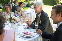 Wedding guests sitting at table