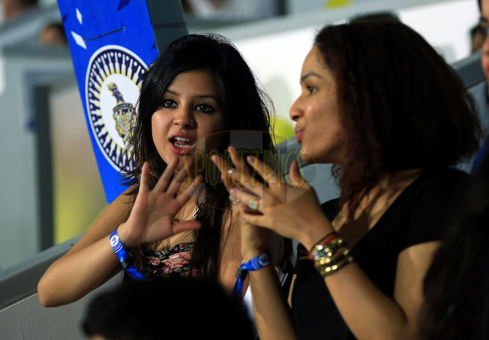 Sakshi wife of MS Dhoni captain of The Chennai Superkings and Masaba Gupta  fashion designer during match 17 of the Pepsi Indian Premier League 2014 between the Sunrisers Hyderabad and the Chennai Superkings held at the Sharjah Cricket Stadium, Sharjah, United Arab Emirates on the 27th April 2014<br /> <br /> Photo by Sandeep Shetty / IPL / SPORTZPICS
