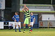 Forest Green Rovers Darren Carter(12) applauds the fans as he is substituted during the Vanarama National League match between Macclesfield Town and Forest Green Rovers at Moss Rose, Macclesfield, United Kingdom on 12 November 2016. Photo by Shane Healey.