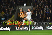 Hull City midfielder Markus Henriksen (22) and Leeds United midfielder Kalvin Phillips (23) during the EFL Sky Bet Championship match between Hull City and Leeds United at the KCOM Stadium, Kingston upon Hull, England on 2 October 2018.Photo. Ian Lyall