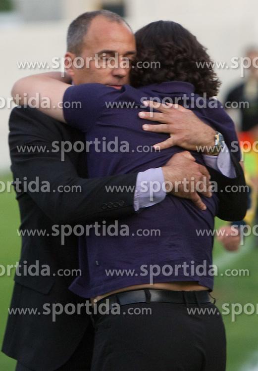 Darko Milanic and Zlatko Zahovic of Maribor celebrate after winning the football match between NK Primorje and NK Maribor of 1st Slovenian football league PrvaLiga, on May 21, 2011 in Ajdovscina, Slovenia. Maribor defeated Primorje 2-1 and became Slovenian national Champion 2010/2011. (Photo By Vid Ponikvar / Sportida.com)