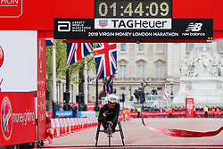 © Licensed to London News Pictures. 28/04/2019. London, UK. Switzerland 's Manuela Schar wins the women's wheelchair race at the London Marathon 2019. Photo credit: Dinendra Haria/LNP