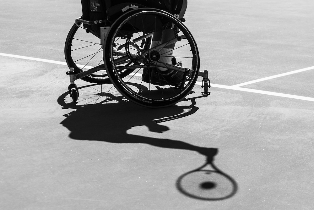 11/3/16 12:34:59 PM --- Wheelchair Tennis --- Mauricio Pomme of Brazil serves during the 2016 UNIQLO Wheelchair Doubles Masters tournament at Marguerite Tennis Pavilion in Mission Viejo, CA<br /> <br /> Photo by Brian Rothmuller, Sports Shooter Academy