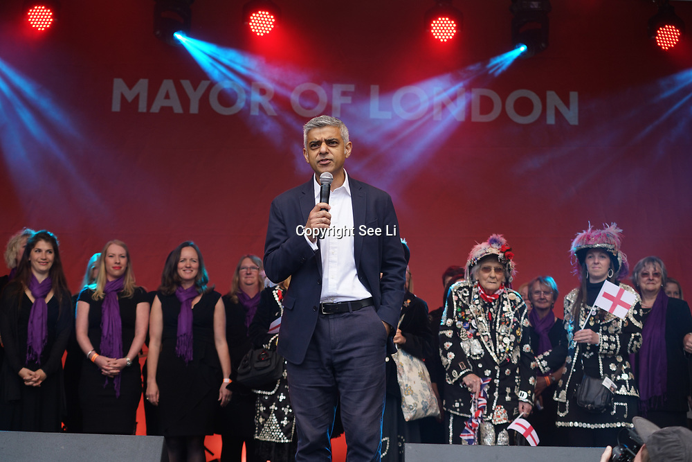 Mayor of London,Sadiq Khan  addresses the crowds attended the Feast of St George celebrations in Trafalgar Square, London, UK on April 22, 2017.The event that was filled with music and entertainment was organized by the Mayor of London, Boris Johnson. St George is the patron Saint of England. by See Li