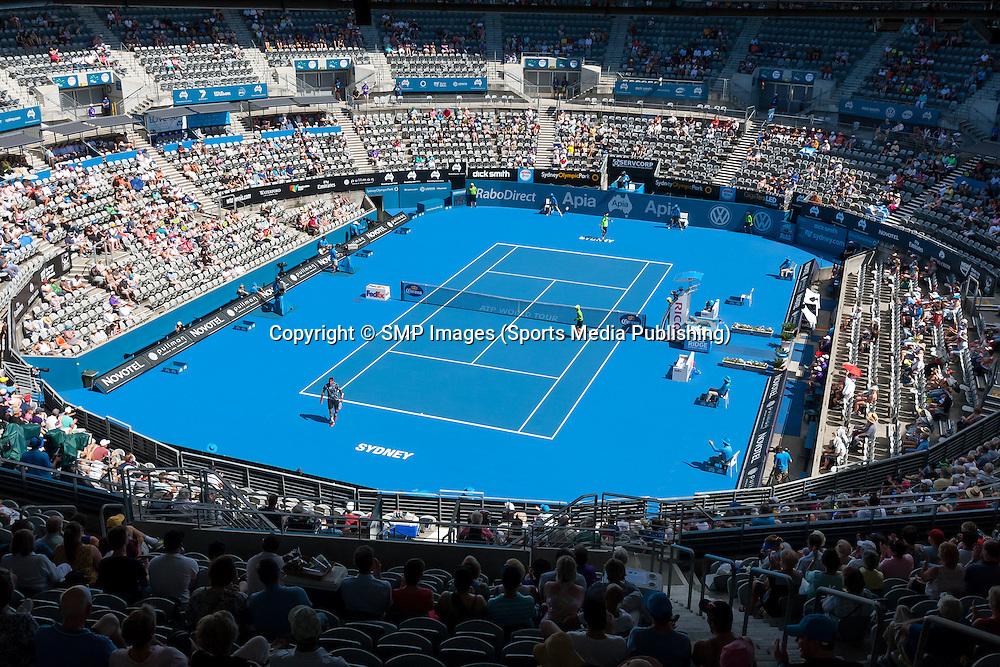 Del Potro on Center Court  - Colour Photos - Day4 at the Apia Sydney International Tennis Tournament. Sydney Australia 13-01-2015