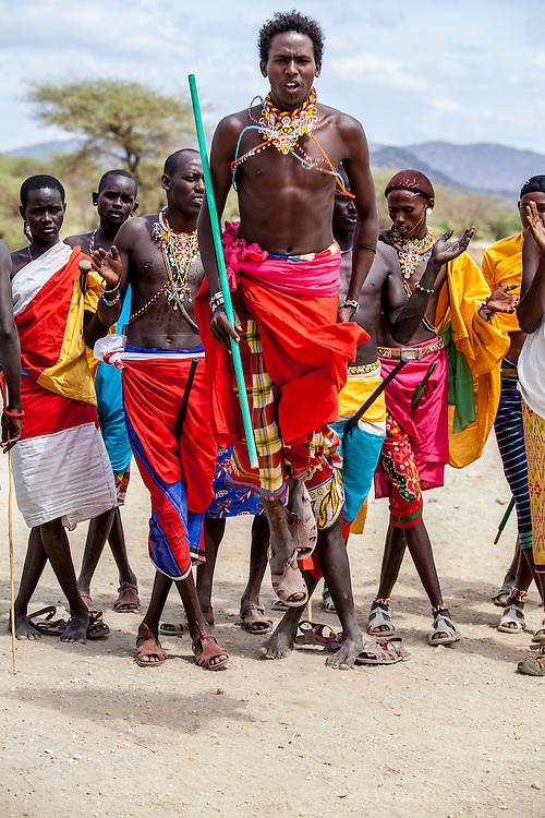 Samburu tribesmen compete in a dance, Samburu National Reserve, Kenya.