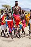 Samburu tribesmen compete in a dance, Samburu National Reserve, Kenya.