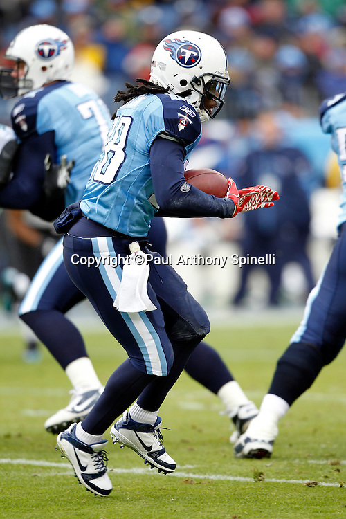 Tennessee Titans running back Chris Johnson (28) runs the ball during the NFL week 13 football game against the Jacksonville Jaguars on Sunday, December 5, 2010 in Nashville, Tennessee. The Jaguars won the game 17-6. (©Paul Anthony Spinelli)