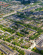 Nederland, Noord-Brabant, Eindhoven, 27-05-2013; stadsdeel Woensel-Noord, wijk Ontginning, buurt &rsquo;t Hool.<br /> De woonbuurt met verschillende woningtypes is tussen 1968 en 1972 gerealiseerd en geldt als toonbeeld van de wederopbouw architectuur en stedenbouw. Architect Jaap Bakema.<br /> Residential area in Eindhoven with various housing types realized between 1968 and 1972. The design is considered a model of architecture and urban reconstruction. Architect Jaap Bakema.<br /> luchtfoto (toeslag op standard tarieven)<br /> aerial photo (additional fee required)<br /> copyright foto/photo Siebe Swart