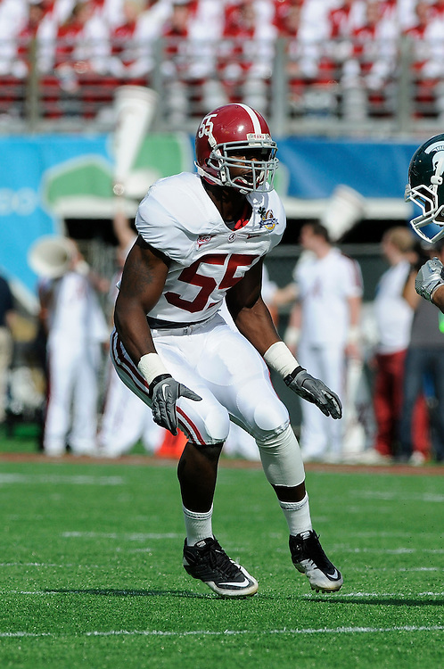 January 1, 2011: Chavis Williams of the Alabama Crimson Tide in action during the NCAA football game between Michigan State Spartans and the Alabama Crimson Tide at the 2011 Capital One Bowl in Orlando, Florida. Alabama defeated Michigan State 49-7.
