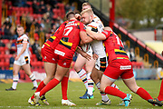 Bradford Bulls loose forward Damian Sironen (10) tries to power through the defence during the Kingstone Press Championship match between Dewsbury Rams and Bradford Bulls at the Tetley's Stadium, Dewsbury, United Kingdom on 10 September 2017. Photo by Simon Davies.