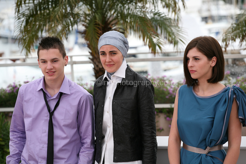 Actor Ismir Gagula, Director Aida Begic, Actress Marija Pikic,  at the Children of Sarajevo (Djeca) film photocall at the 65th Cannes Film Festival France. Monday 21st May 2012 in Cannes Film Festival, France.