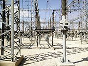 high voltage transformers at an Electricity transformation substation Photographed in Israel