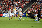 01.01.2014 Sydney, Australia. Wellingtons forward Stein Huysegems celebrates his goal during the Hyundai A League game between Western Sydney Wanderers FC and Wellington Phoenix FC from the Pirtek Stadium, Parramatta. Wellington won 3-1.
