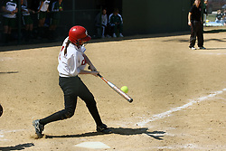 05 April 2008: Meghan Roman makes contact, but the ball goes foul down the 3rd base line. The Carthage College Lady Reds lost the first game of this double header to the Titans of Illinois Wesleyan 4-1 at Illinois Wesleyan in Bloomington, IL