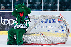 Official mascot of HDD Tilia Olimpija dragon Hoki sitting on hockey goal during ice-hockey match between HDD Tilia Olimpija and EHC Liwest Black Wings Linz in 37th Round of EBEL league, on Januar 9, 2011 at Hala Tivoli, Ljubljana, Slovenia. (Photo By Matic Klansek Velej / Sportida.com)