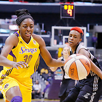 25 May 2014: Los Angeles Sparks forward Nneka Ogwumike (30) reaches for the loose ball during the Los Angeles Sparks 83-62 victory over the San Antonio Stars, at the Staples Center, Los Angeles, California, USA.