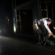 October 3, 2012 - Brooklyn, NY : Serge Maggiani, left/top, and Hugues Quester perform in a technical rehearsal of the Théâtre de la Ville's production of French-Romanian playwright Eugène Ionesco's 1959 play 'Rhinocéros' at BAM in Brooklyn on Wednesday night. The traveling production will perform from Oct. 4-6, 2012. CREDIT: Karsten Moran for The New York Times