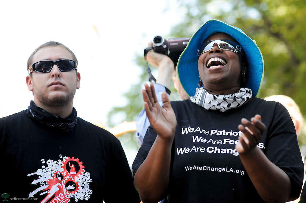 August 24, 2008 - Green Party Presidential Candidate Cynthia McKinney reacts to a speech during an anti-war rally prior to the Democratic National Convention in Denver, Colorado.