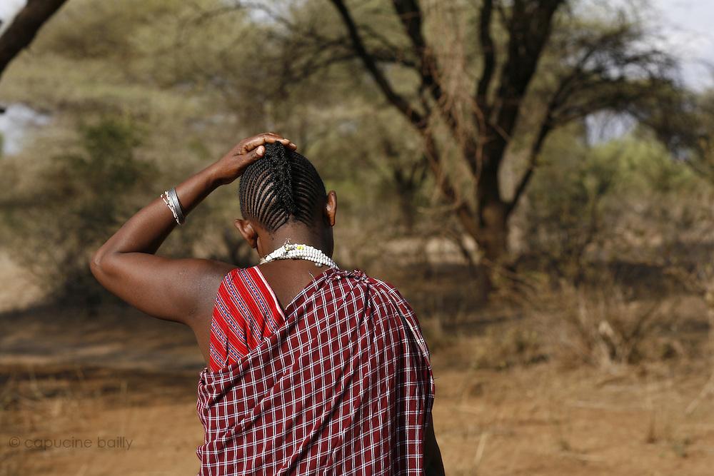TANZANIA. Longido Mountain Area..August 3rd 2009..A Maasai woman.