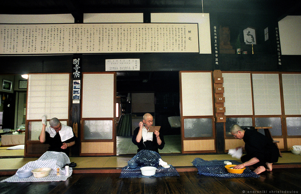 LIVING ZEN - HOSHINJI MONASTERY, OBAMA-JAPAN..Shaving..One day every week is the day off, when the monks have time to take care of them selves. .