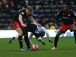 Reading Pavel Pogrebnyak brings down Derby Simon Dawkins, Derby County v Reading, FA Cup 5th Round, The Ipro Stadium, Saturday 14th Febuary 2015