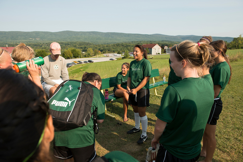 Rachel Williams is a second year student who plays on the soccer team at Southern Vermont College in Bennington, Vermont. (Caleb Kenna for the Chronicle of Higher Education)