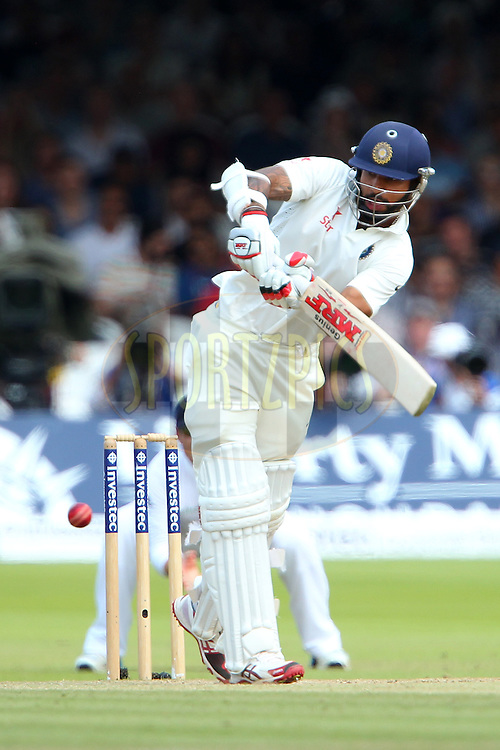 Shikhar Dhawan of India during day three of the 2nd Investec test match between England and India held at Lords cricket ground in London, England on the 19th July 2014<br /> <br /> Photo by Ron Gaunt / SPORTZPICS/ BCCI