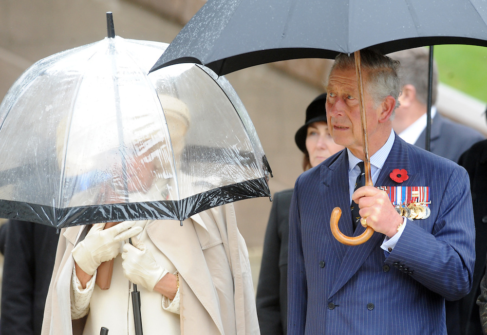 Prince Charles, Prince of Wales, right, with Camilla, Duchess of Cornwall arrive for a wreath laying ceremony at the National War Memorial, Wellington, New Zealand, Wednesday, November 04, 2015.  Credit:SNPA / Ross Setford