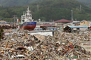 June 09, 2011; Kesennuma, Miyagi Pref., Japan - A fishing boat sits on dry land a quarter-mile from the ocean after a tsunami carried it inland after the magnitude 9.0 Great East Japan Earthquake and Tsunami that devastated the Tohoku region of Japan on March 11, 2011.