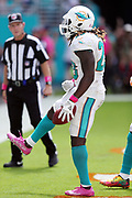 Miami Dolphins running back Jay Ajayi (23) yells out as he celebrates after scoring a touchdown on a 4 yard run that ties the second quarter score at 14-14 during the 2016 NFL week 5 regular season football game against the Tennessee Titans on Sunday, Oct. 9, 2016 in Miami Gardens, Fla. The Titans won the game 30-17. (©Paul Anthony Spinelli)