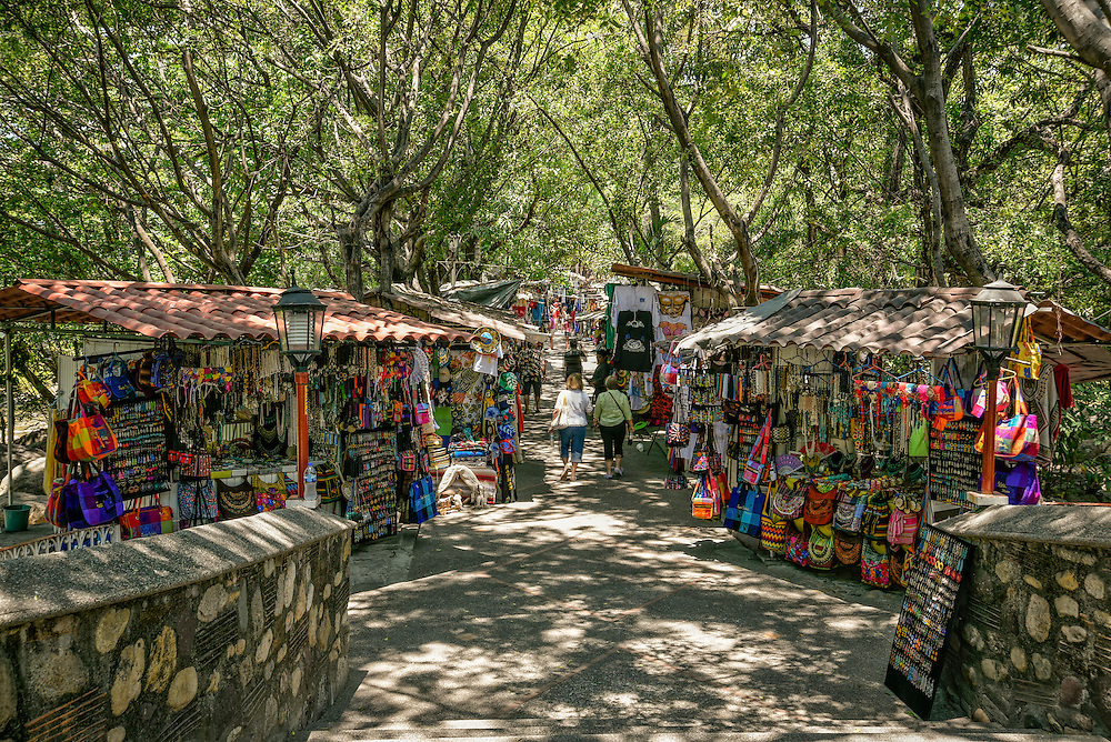 Artisan shops on the island in Rio Cuale in Puerto Vallarta, Jalisco, Mexico.