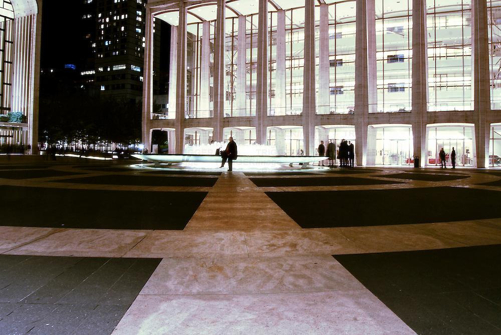 The Met with Josie Robertson Plaza at night. Manhattan, New York City.