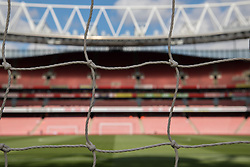 LONDON, ENGLAND - Sunday, April 2, 2017: A general view of Arsenal's Emirates Stadium through the goal net, pictured before the FA Premier League match against Manchester City at the Emirates Stadium. (Pic by David Rawcliffe/Propaganda)