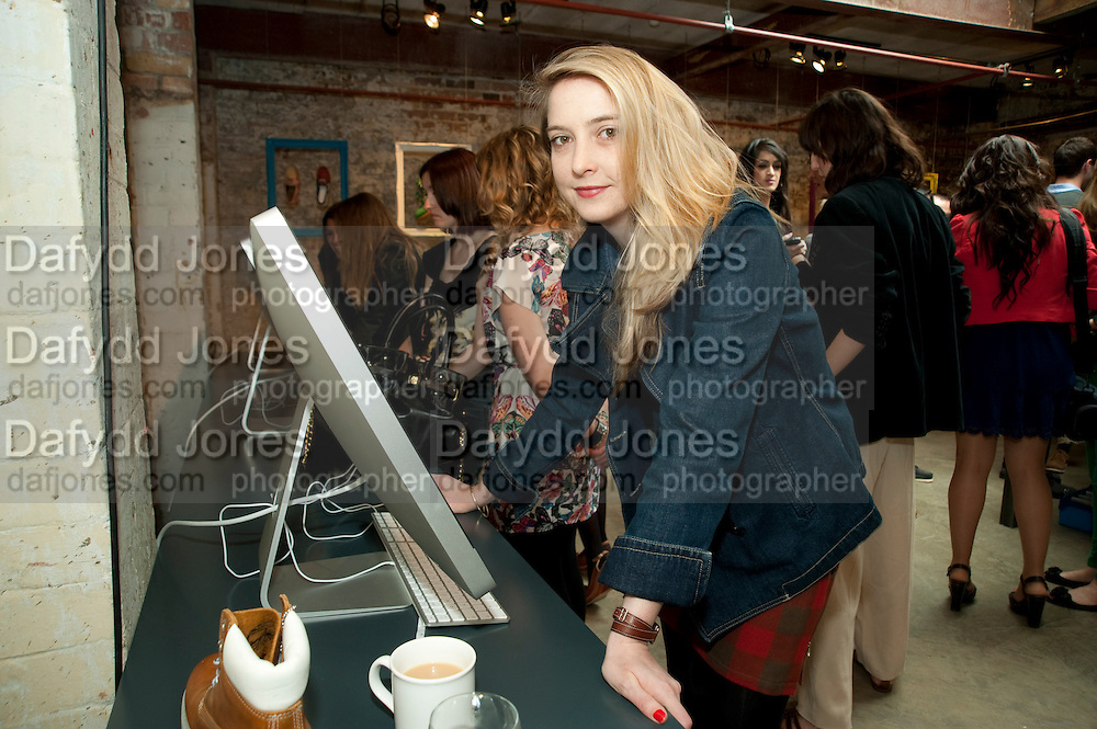 DAISY DE VILLENEUVE DESIGNING HER OWN TIMBERLAND SHOES, Design Your Own Timberland breakfast and Autumn/ Winter 2011 preview. Timberland. 1 Fournier St. London. Followed by an art tour by Julia Royce. 8 June 2011. <br /> <br />  , -DO NOT ARCHIVE-© Copyright Photograph by Dafydd Jones. 248 Clapham Rd. London SW9 0PZ. Tel 0207 820 0771. www.dafjones.com.