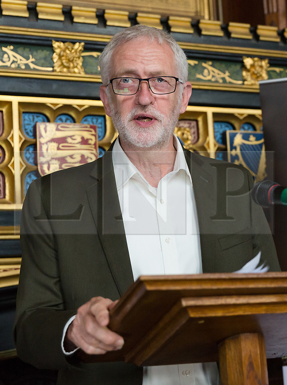 © Licensed to London News Pictures. 18/07/2017. LONDON, UK.  JEREMY CORBYN, Labour Party leader speaking at a Pink News parliamentary reception to celebrate the 50th anniversary of decriminalisation on homosexuality, held at Speaker's House in the Palace of Westminster in London.  Photo credit: Vickie Flores/LNP
