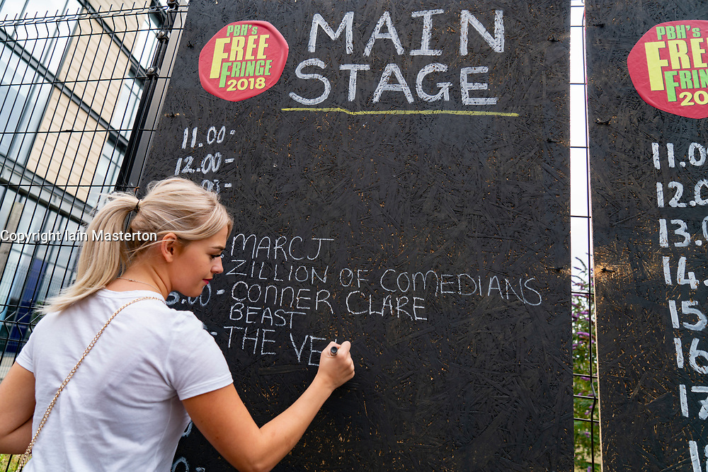 Edinburgh, Scotland, UK; 5 August, 2018. The unofficial Edinburgh Free Fringe festival runs concurrent with The Fringe and offers free entertainment. Her running order of shows is added to blackboard.