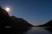 Moonrise over Lake Ellen Wilson in Glacier National Park, Montana