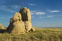 "Sandstone pillars or ""hoodoos"" rising from the prairie of SE Montana"