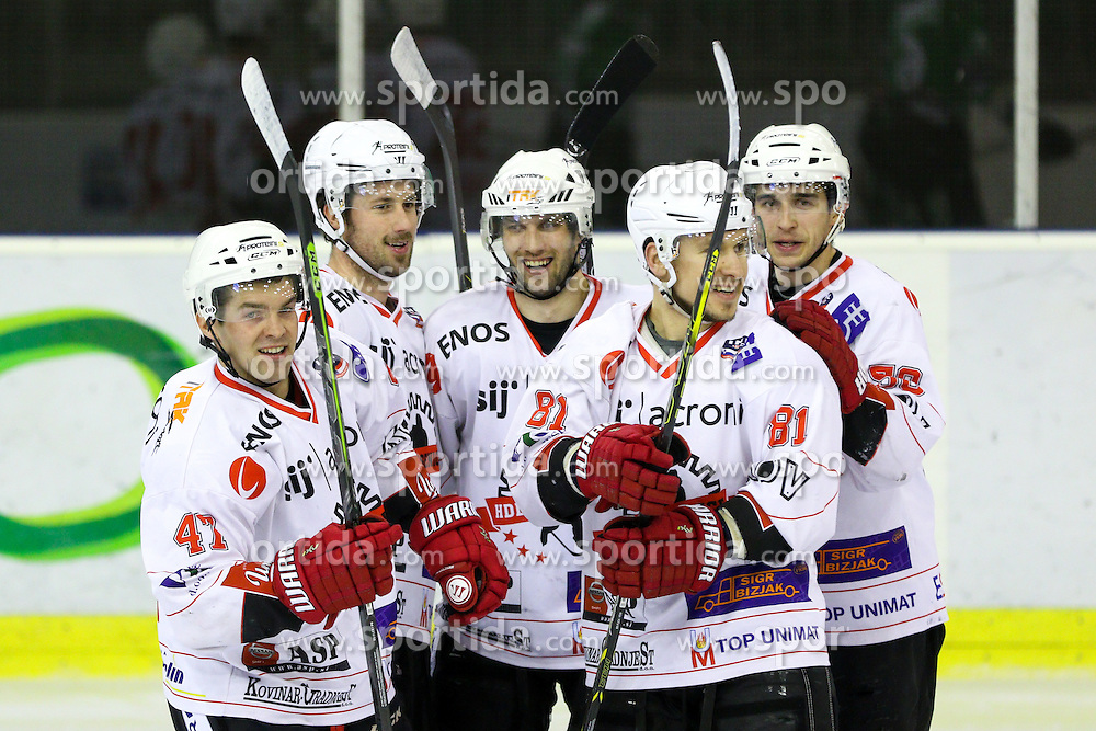 Players of Jesenice celebrate during ice hockey game between HDD Telemach Olimpija and SIJ Acroni Jesenice in 1st leg of Finals of Slovenian National Championship 2015, on April 9, 2015 in Hala Tivoli, Ljubljana, Slovenia. Photo by Matic Klansek Velej / Sportida